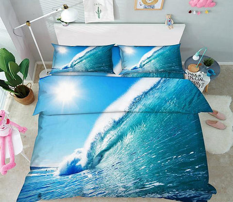 3D Blue Sea High Wave 102 Bed Pillowcases Quilt Wallpaper AJ Wallpaper