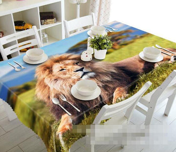 3D Grassland Lion 1137 Tablecloths Wallpaper AJ Wallpaper
