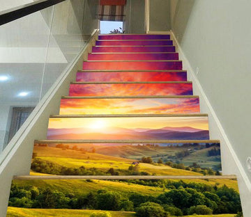 3D Mountains Sunset 603 Stair Risers Wallpaper AJ Wallpaper