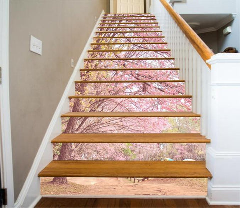 3D Pretty Flowering Trees 385 Stair Risers