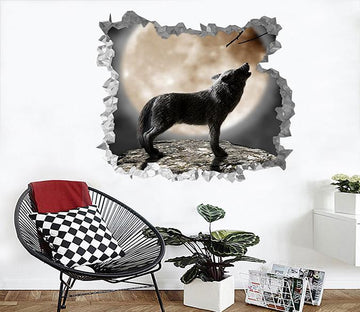 3D Full Moon Night Howling Wolf 198 Broken Wall Murals Wallpaper AJ Wallpaper