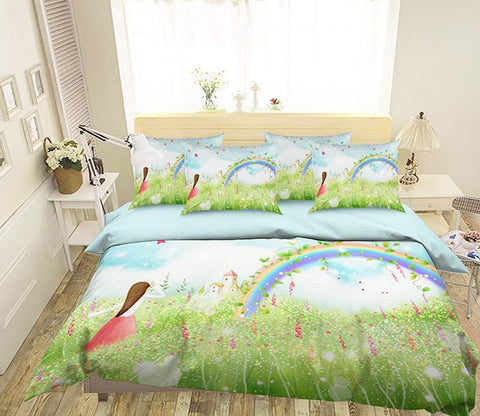 3D Flowers Field Rainbow 341 Bed Pillowcases Quilt