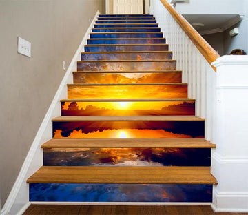 3D Lake Bright Sunset 1250 Stair Risers Wallpaper AJ Wallpaper