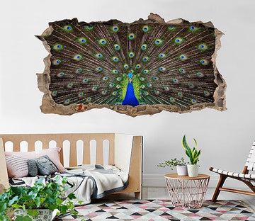 3D Opening Tail Peacock 174 Broken Wall Murals Wallpaper AJ Wallpaper