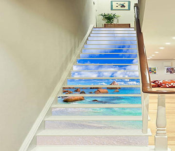 3D Blue Sea Stones 937 Stair Risers Wallpaper AJ Wallpaper