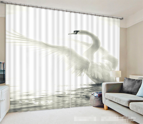3D Lake White Swan 1101 Curtains Drapes Wallpaper AJ Wallpaper