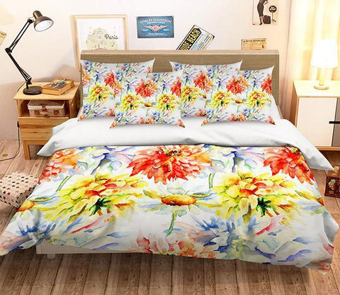 3D Watercolor Flowers 349 Bed Pillowcases Quilt