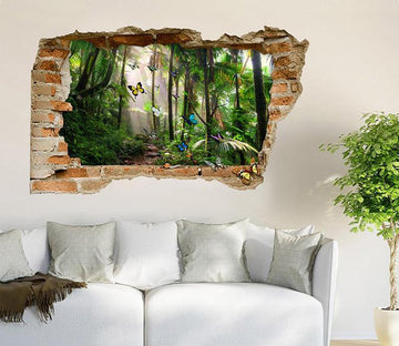 3D Rainforest Butterflies 376 Broken Wall Murals Wallpaper AJ Wallpaper