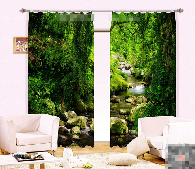 3D Creek Green Vines 1063 Curtains Drapes Wallpaper AJ Wallpaper