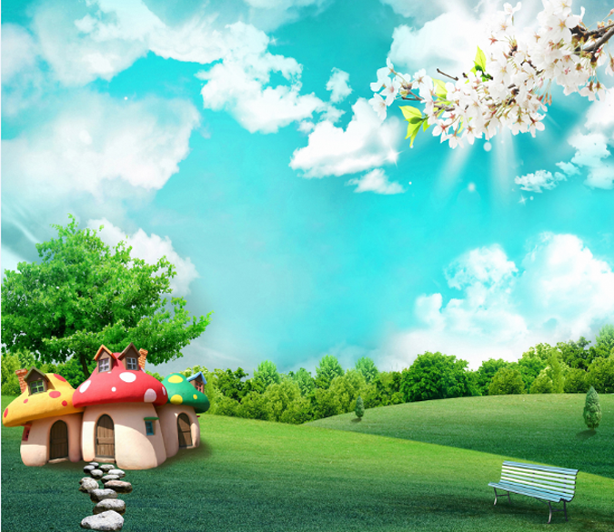 Mushroom Houses 2 Wallpaper AJ Wallpaper