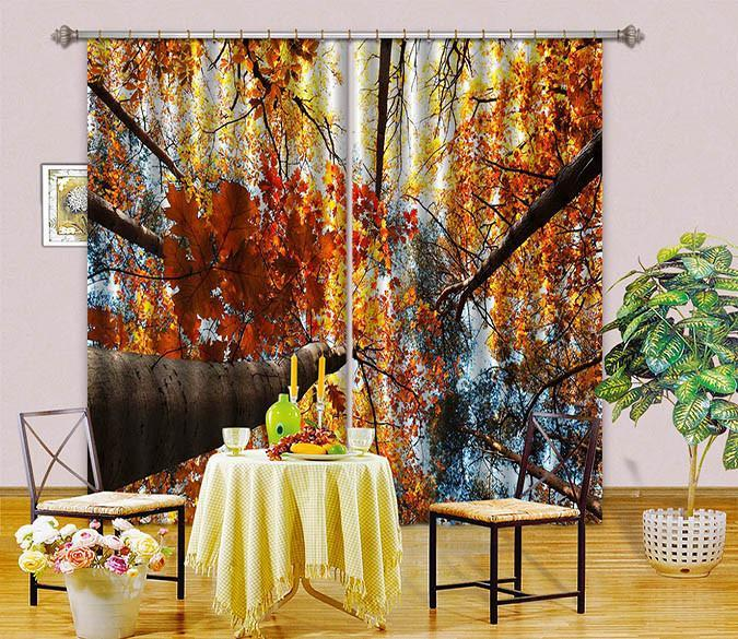 3D Yellow Tall Trees 12 Curtains Drapes Wallpaper AJ Wallpaper