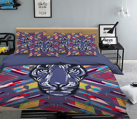 3D Tiger Head Pattern 316 Bed Pillowcases Quilt Wallpaper AJ Wallpaper