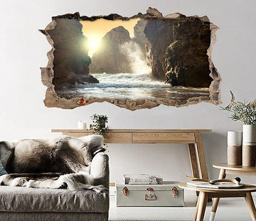 3D Sea Mountains Waves 029 Broken Wall Murals Wallpaper AJ Wallpaper