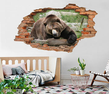3D Big Black Bear 66 Broken Wall Murals Wallpaper AJ Wallpaper