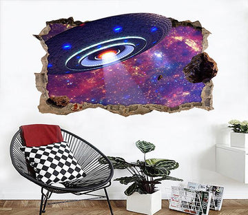 3D Space UFO 147 Broken Wall Murals Wallpaper AJ Wallpaper