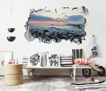3D Sea Sunset View 132 Broken Wall Murals Wallpaper AJ Wallpaper