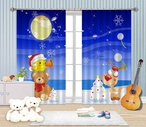3D Cartoon Bear Deer 2434 Curtains Drapes Wallpaper AJ Wallpaper