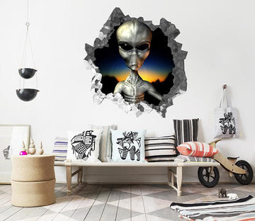 3D Alien 92 Broken Wall Murals Wallpaper AJ Wallpaper