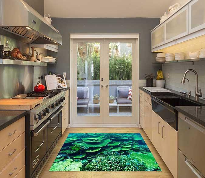 3D Sea Green Corals Kitchen Mat Floor Mural Wallpaper AJ Wallpaper