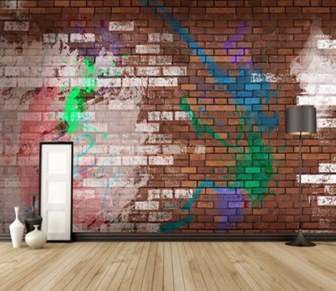 Graffiti Brick Color Wallpaper AJ Wallpaper
