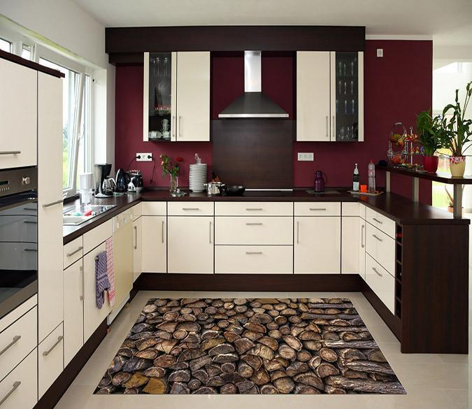 3D Stacked Firewood 564 Kitchen Mat Floor Mural Wallpaper AJ Wallpaper
