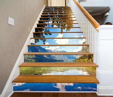 3D Lake Blue Sky 892 Stair Risers Wallpaper AJ Wallpaper