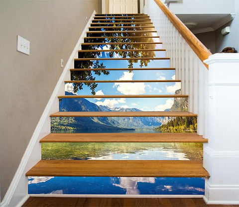 3D Lake Blue Sky 892 Stair Risers