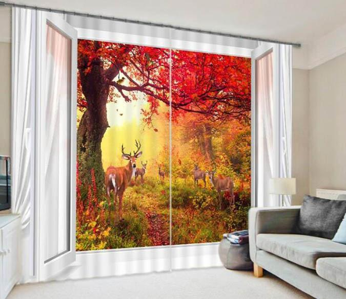 3D Trees And Deer 878 Curtains Drapes Wallpaper AJ Wallpaper