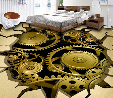 3D Gears Floor Mural Wallpaper AJ Wallpaper 2