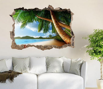 3D Tropical Beach Trees 064 Broken Wall Murals Wallpaper AJ Wallpaper