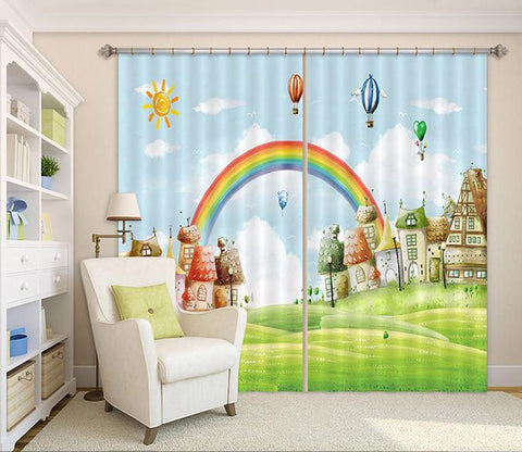 3D Cartoon Houses Rainbow 43 Curtains Drapes Wallpaper AJ Wallpaper