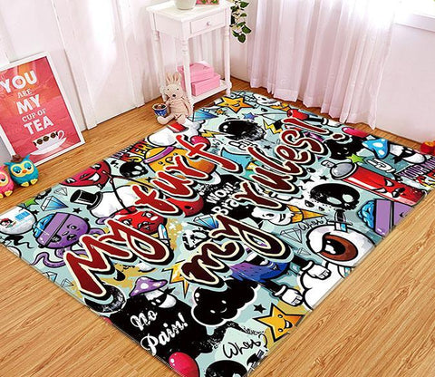 3D Graffiti Pattern 153 Non Slip Rug Mat Mat AJ Creativity Home