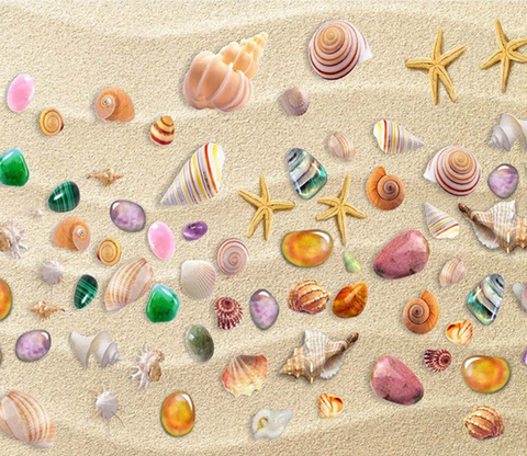 3D Beach Colorful Treasures Floor Mural Wallpaper AJ Wallpaper 2