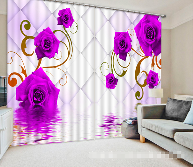 3D Flowers And Lattice 1342 Curtains Drapes Wallpaper AJ Wallpaper
