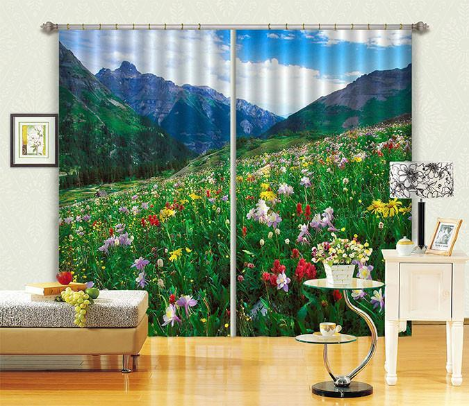 3D Mountain Slope Flowers 355 Curtains Drapes Wallpaper AJ Wallpaper