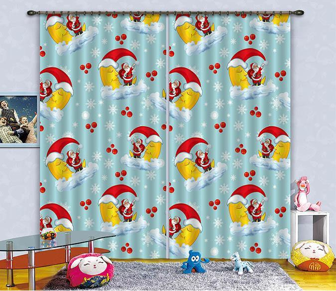 3D Lovely Santa Claus Patten Curtains Drapes Wallpaper AJ Wallpaper