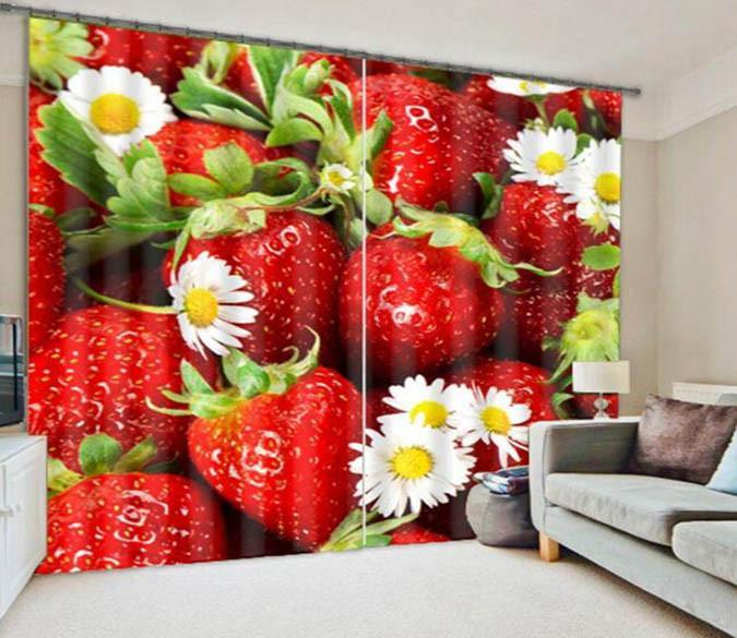 3D Strawberry Flowers 876 Curtains Drapes Wallpaper AJ Wallpaper