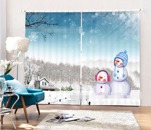 3D Snowing Forest Snowman 2140 Curtains Drapes