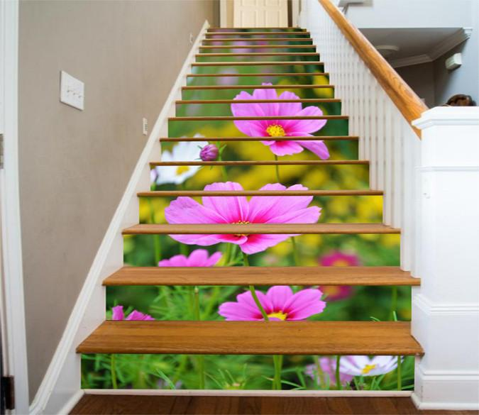 3D Bright Flowers 606 Stair Risers Wallpaper AJ Wallpaper