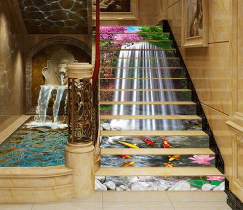 3D Waterfall Fishes 1337 Stair Risers
