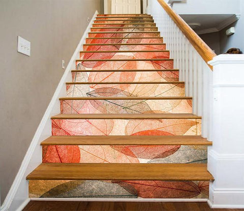 3D Clear Leaves Veins 1018 Stair Risers