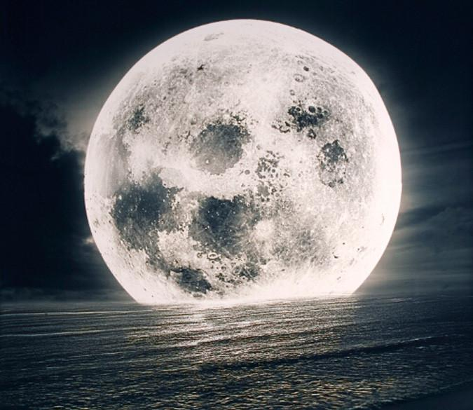 Ocean Full Moon Wallpaper AJ Wallpaper