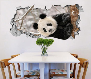 3D Snow Panda 9 Broken Wall Murals Wallpaper AJ Wallpaper