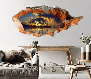 3D Pretty Lake Sunset 122 Broken Wall Murals Wallpaper AJ Wallpaper