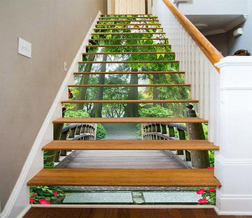 3D Forest Wood Bridge 732 Stair Risers Wallpaper AJ Wallpaper