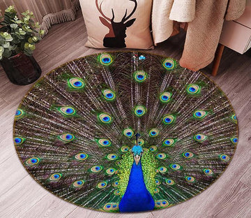 3D Spreading Tail Peacock 96 Round Non Slip Rug Mat Mat AJ Creativity Home