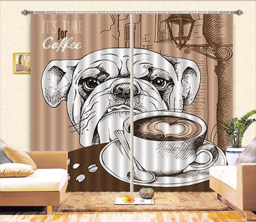 3D Dog And Coffee Curtains Drapes Wallpaper AJ Wallpaper