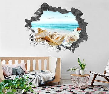3D Beach Scenery 98 Broken Wall Murals Wallpaper AJ Wallpaper