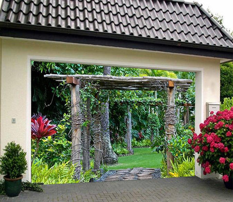 3D Wood Rattan 146 Garage Door Mural