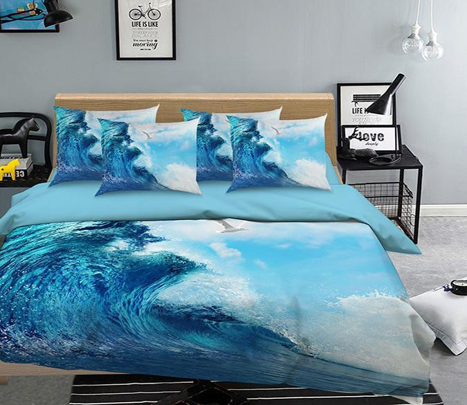 3D Sea Wave And Seagull 343 Bed Pillowcases Quilt Wallpaper AJ Wallpaper